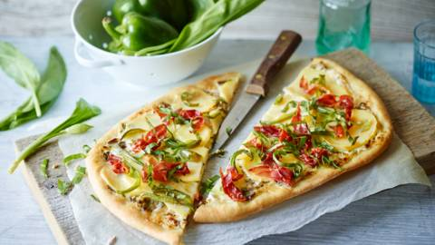 Wild Garlic Tart with Potatoes, Peppers and Italian Ham
