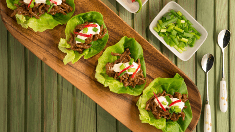 Sticky Beef and Lettuce Wraps