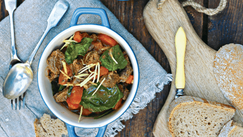 Gingered Beef, Carrot and Spinach Casserole