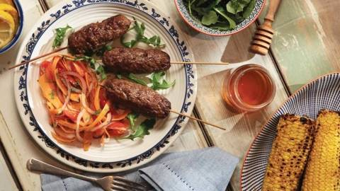 BBQ Beef Kofta with Carrot and Cherry Tomato Salad