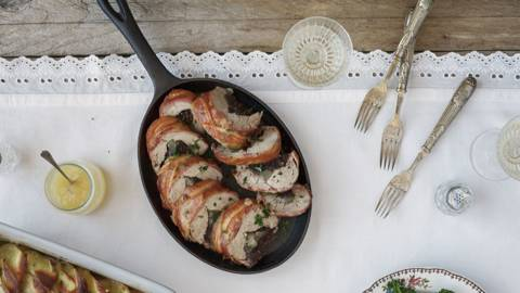 Gluten Free - Black Pudding and Apple stuffed Pork Fillet with sliced Potatoes