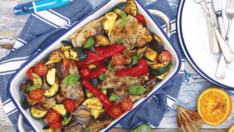 Lamb Gigot Chops with Basil and Rough and Ready Ratatouille