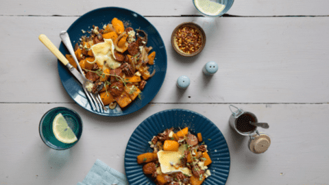 Roasted Butternut Squash and Chorizo with Blue Cheese and Brown Sugar Dressing