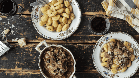 Italian Style Ragu of Lamb with Rosemary Gnocchi