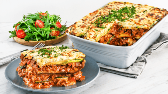 Low Carb Irish Beef Lasagna with Creamy Cheese Topping