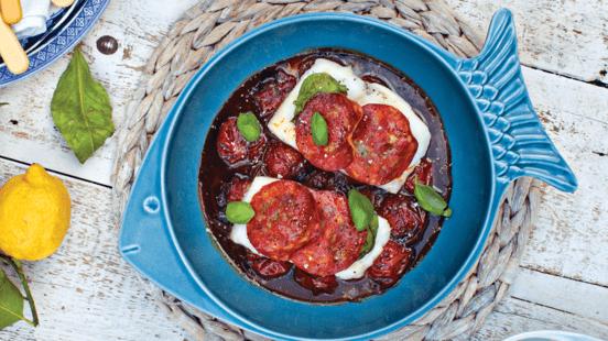 Baked Inismara Cod Fillets with Chorizo, Basil, Balsamic and Honey Cherry Tomatoes