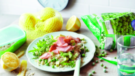Lemon Couscous with Avocado and Salmon