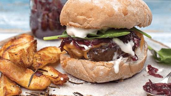 Superburger with Red Onion Marmalade, Cheddar & Sour Cream
