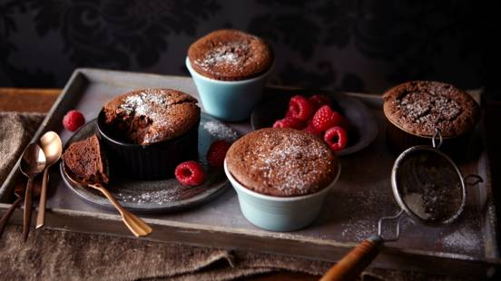 Chocolate Espresso Soufflé with Cardamom