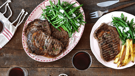 BBQ Rib Eye Steaks With Green Beans, Parmesan, Salad
