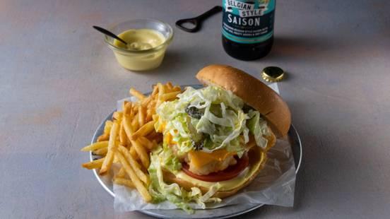 Crispy Beer Battered Chicken Burger