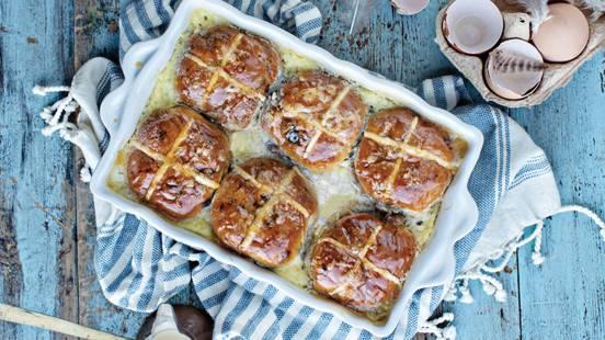 Hot Cross Bun Bread & Butter Pudding