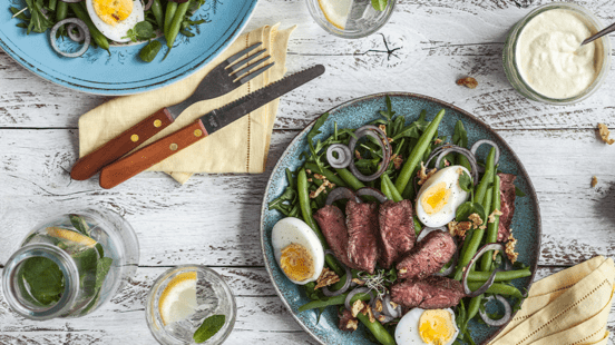 Steak Salad with French Beans, Red Onions and Mustard Dressing