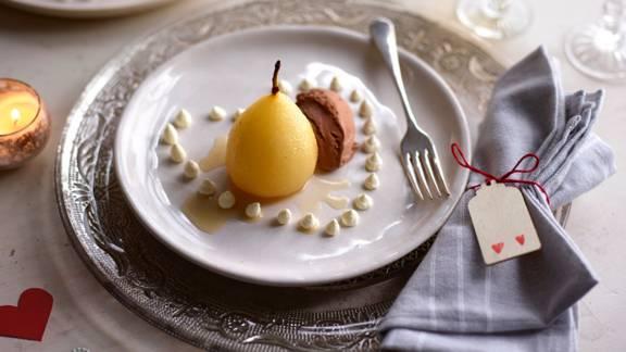 Vanilla Pear with Chocolate Ice Cream