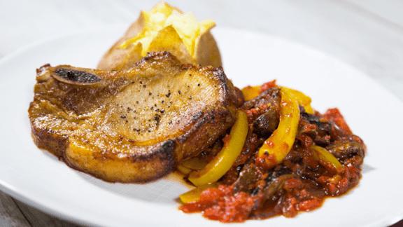 Pork Chops with Stir-Fried Vegetables & Tomato Sauce