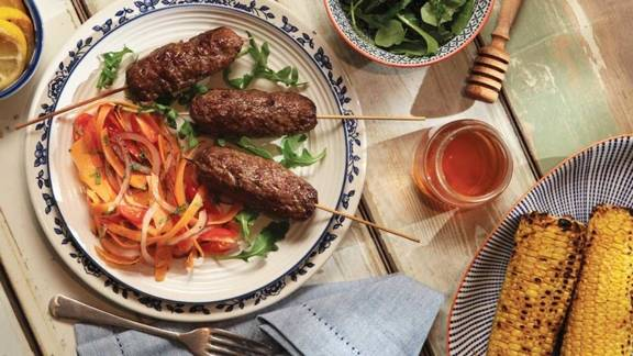 BBQ Beef Kofta with Carrot and Cherry Tomato Salad