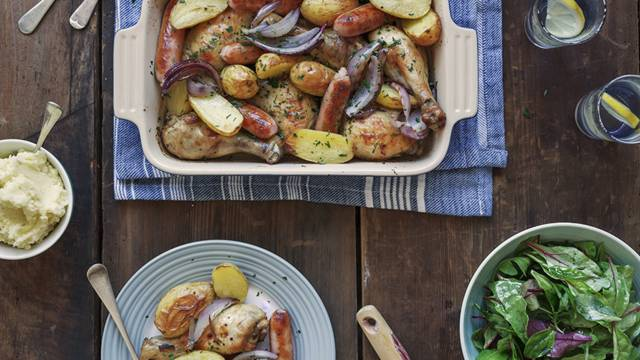 One-tray chicken and sausage bake