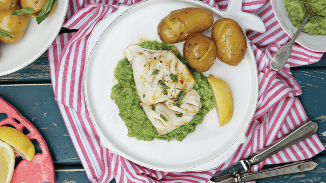 Inismara cod fillets with buttered new potatoes, pea puree and mint vinaigrette