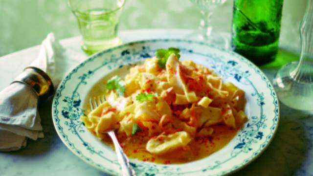 Cod and Ribbon Pasta in Saffron and Orange Sauce