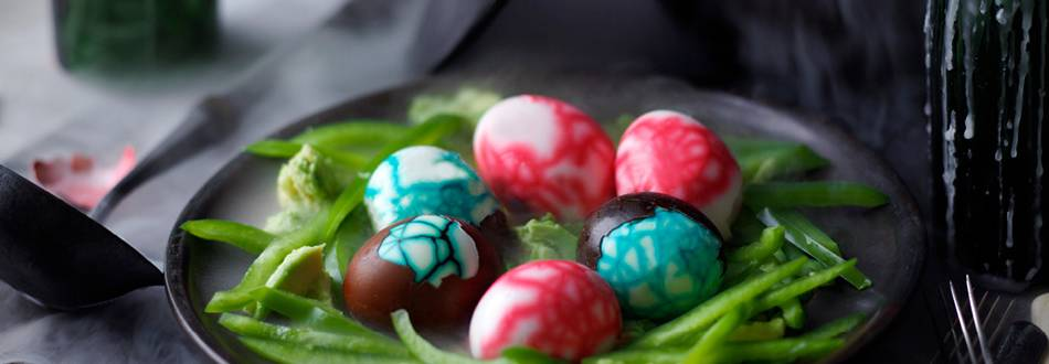 Dragon Eggs in a Nest (Eggs with Avocado Dip)