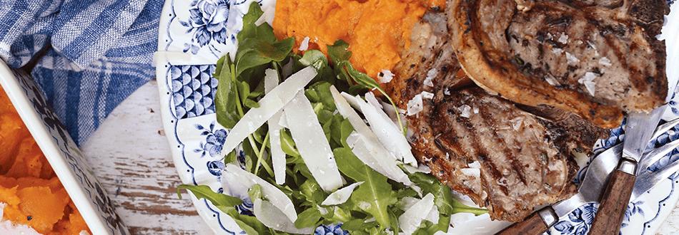 Lamb loin chops with sweet potato and Parmesan mash