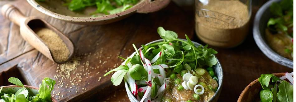 Amaranth or Quinoa with Peas and Radish