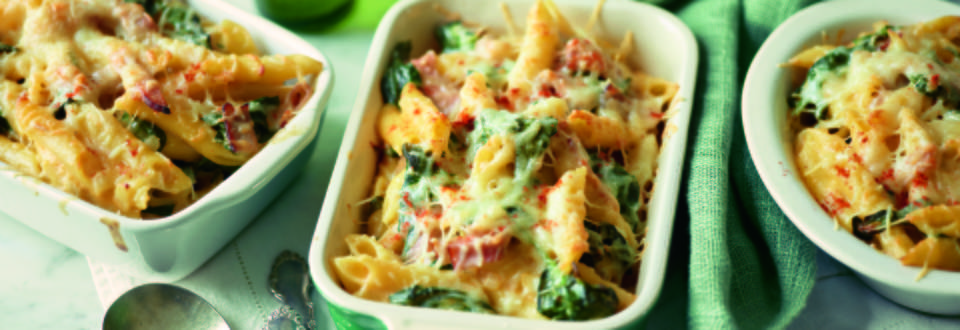Baked Pasta with Spinach and Ham