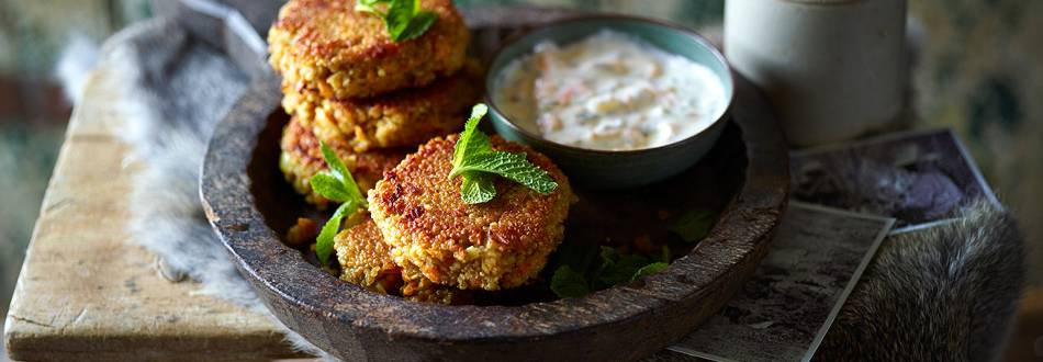 Oriental quinoa and carrot cakes with herbs