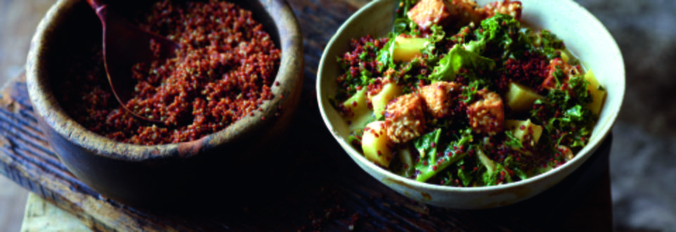 Quinoa Green Cabbage Curry with Fried Tofu