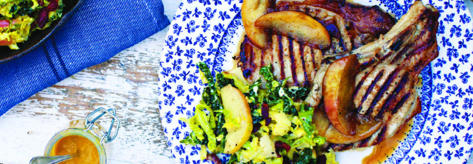 Pork Chops with Creamy Bacon & Cabbage
